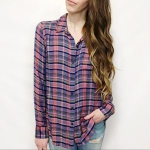 Lucky Brand Purple Plaid Classic Button Down Top